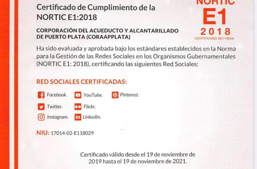 CORAAPPLATA RECIBE CERTIFICACIÓN NORTIC-E1 2018.