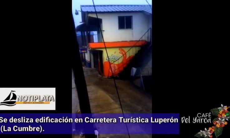 VIDEO: SE DESLIZA EDIFICACIÓN EN CARRETERA TURÍSTICA LUPERÓN (LA CUMBRE).