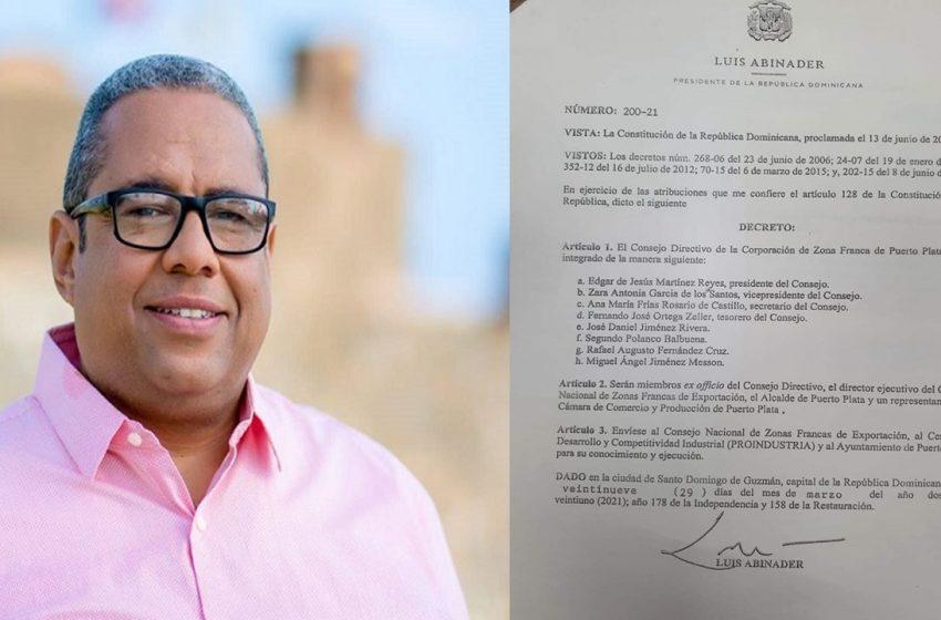 DESIGNAN A EDGAR MARTÍNEZ NUEVO PRESIDENTE CONSEJO ZONA FRANCA PUERTO PLATA.